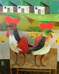 ♞ Artful Animals ♞ bird, dog, cat, fish, bunny and animal paintings - roosters