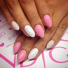 by Paulina Walaszczyk Indigo Educator ! Find more inspiration at www.indigo-nails.com #nailart #nails #indigo #pink #white #syrenka #mermaid