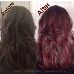 Baylage balayage magma purple red hair painting highlights