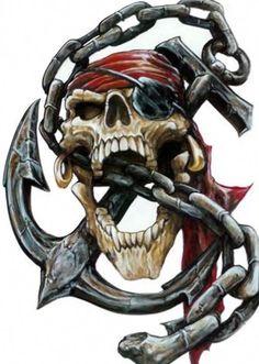 Aufkleber Set Pirat Totenkopf Anker Kette Airbrush Decal Pirate Skull Anchor Top in Auto & Motorrad Teile, Motorrad- & Kraftradteile, Accessoires & Literatur Skull Tattoo Design, Skull Design, Tattoo Designs, Pirate Art, Pirate Life, Gott Tattoos, Pirate Skull Tattoos, Pirate Anchor Tattoo, Indian Skull Tattoos