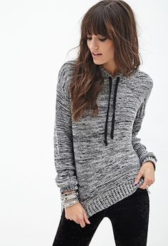 Marled Knit Hooded Sweater | FOREVER21 - 2000066689