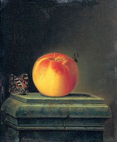 Title: Still Life with Apple and Insects, 1765  Artist: Justus Juncker  Medium: Hand-Painted Art Reproduction