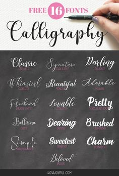 16 FREE calligraphy fonts for your next creative project - Fonts - Ideas of Fonts - The top 16 beautiful and FREE calligraphy fonts for your next creative project via HowJoyful Hand Lettering Free Cursive Fonts, Tattoo Fonts Cursive, Handwritten Fonts, Lettering Tattoo, Top Free Fonts, Lettering Styles, Free Fonts For Cricut, Font Free, Hand Lettering Fonts Free