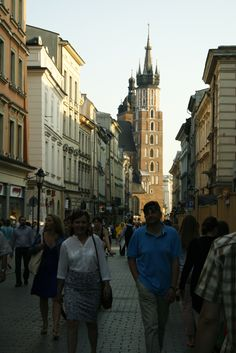 The view down Florianska Street in Krakow, Poland of St. Mary's Church (Ulica Florianska)