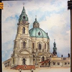 Finished #nofilter #art #aquarelle #architecture #watercolor #praha #prague #ink #fabercastell #painting #акварель  #kostel