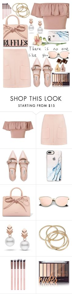 """""""Touch (Little Mix)"""" by superswimmerca ❤ liked on Polyvore featuring Miss Selfridge, See by Chloé, Miu Miu, Casetify, Mansur Gavriel, Escalier and ABS by Allen Schwartz"""