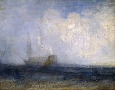 Joseph Mallord William Turner 'Seascape with a Sailing Boat and a Ship', c.1825–30