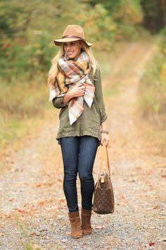 Blanket Plaid: Zara plaid blanket scarf, yellow orange plaid scarf, how to style blanket scarf, camel wool panama hat, olive green, tan suede ankle boots, dark skinny jeans, Louis Vuitton totally MM tote, fall layers with oversized scarf
