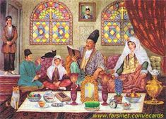When the spring equinox begins family members gather around the HaftSin Table (Sofreh-e Haft Sinn) to start the new year together. A few days before the New Year, a ceremonial table called 'cloth of seven dishes' is set (each item beginning with the Persian letter Sinn).