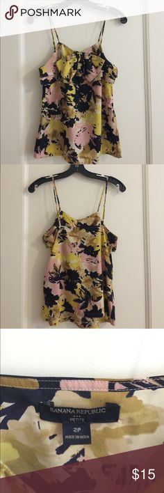 Banana Republic floral tank top with bow detail Floral tank with bow detail. 100% polyester Banana Republic Tops Tank Tops