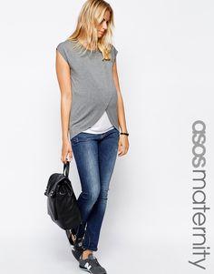 ASOS Maternity NURSING T-Shirt With Wrap Overlay