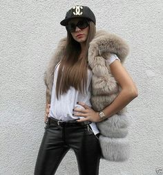 Fox fur hoody vest