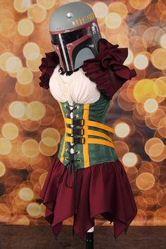NEW Waist 32 to 34 Boba Fett Star Wars Corset by damselinthisdress