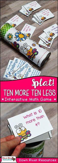 Ten More and Ten Less Math Center for First Grade | First Grade Math Centers | Interactive Math Game