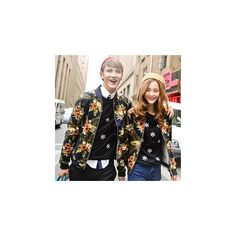 Couple Floral Baseball Jacket ($35) ❤ liked on Polyvore featuring outerwear, jackets, women, cotton jacket, black jacket, floral print jacket, floral jacket and black floral jacket