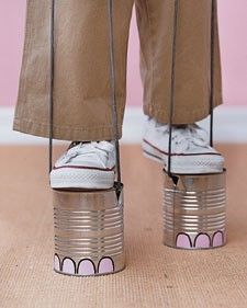 Elephant feet/mini-stilts made from cans... used to LOVE walking cans as a kid!