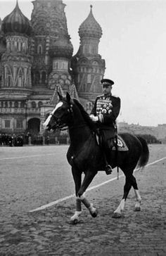 Marshal Konstantin Rokossovsky at the Victory Parade on the Red Square in Moscow, Russia, 24 June 1945.