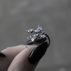 WILLOW. Delicate Crystal Leaf Wrap Ring