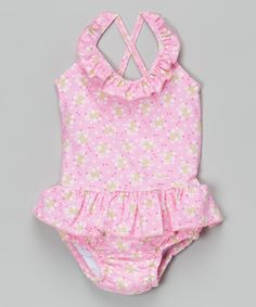 This i play Light Pink Posies Swim Diaper One-Piece - Infant & Toddler by i play is perfect! #zulilyfinds