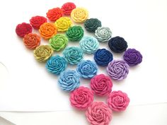 """NEW SIZE-Handcrafted Fabric Flower Fabric Lapel Pin / Boutonniere - 1.5"""" - LARGE - You Choose the Color"""