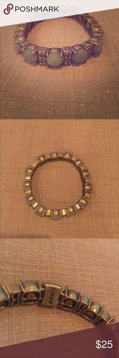 EUC JCrew Bracelet - Green and Gold Excellent condition, green stone and gold bracelet from JCrew. No clasp, just elastic. J. Crew Jewelry Bracelets
