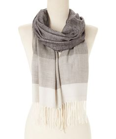Loving this Gray Color Block Cashmere Scarf on #zulily! #zulilyfinds