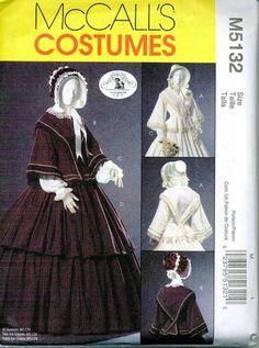 Civil War Era Costumes | McCalls 5132 Civil War Era Costume GWTW Sizes 6-8-10-12 Day Dress Out ...