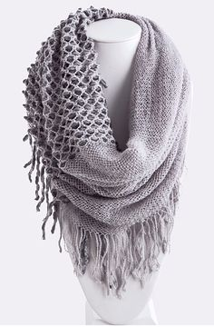 Two-Toned Infinity Knitted Scarf | three bird nest