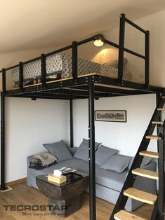 TS 8 con Escalera Lateral - Small room design Tiny House Bedroom, Room Design Bedroom, Room Ideas Bedroom, Home Room Design, Loft Design, Small Room Bedroom, Bedroom Loft, House Rooms, Home Bedroom