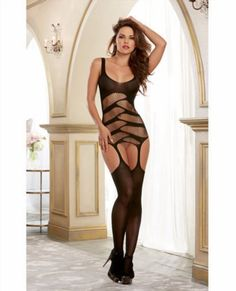 20.00$  Watch now - http://viiid.justgood.pw/vig/item.php?t=bo6yld52555 - Semi opaque garter dress with strappy cut out details, attached garters and matching thigh high stockings. (G-string not included). From Dreamgirl. Black 20.00$