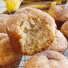 Banana Muffins are soft, bake up perfectly round, and topped with cinnamon sugar. One bowl is all you need to make the best banana bread muffins. No mixer needed! Cinnamon Banana Bread, Banana Bread Muffins, Best Banana Bread, Cinnamon Butter, Cinnamon Crumble, Cinnamon Muffins, Quick Bread Recipes, Muffin Recipes, Cooking Recipes