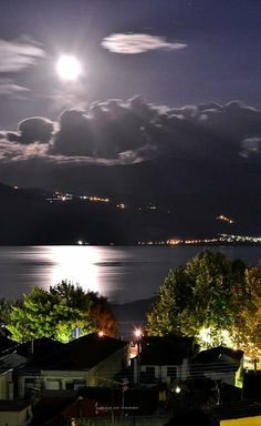 night by moonlight.. Ioannina, Epirus, Greece (by Michael Vakaros)