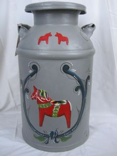 Rosemaled old milk can painted in acrylics by Laurie Nelson Heart of the Home Custom Decorative Painting on Facebook. https://www.facebook.com/pages/Heart-of-the-Home-Custom-Decorative-Painting/130423900341601