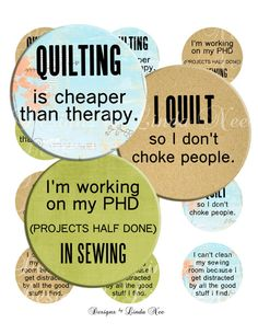 NEW- Quilting and Fabric Quotes 2 (1 inch round) Bottlecap Images - Digital Collage Sheet printable stickers magnet button (Sewing, Fabric)