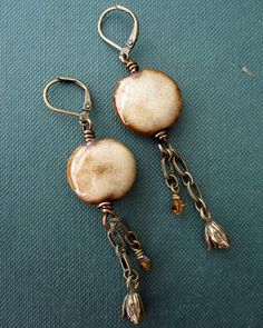 Earrings | By 2ifbysea. Elaine ray ceramic beads, 2.75""