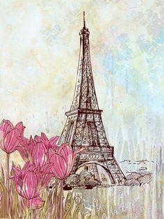 Art poster, print watercolor, Paris Eiffel Tower Travel Poster, 12X16 watercolor illustration