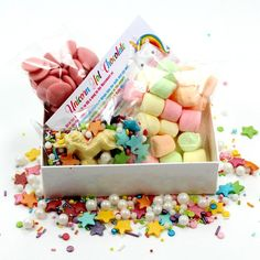 Unicorn Hot chocolate Kit  Due to high demands, this product is taking around a week to despatch  Everything you need to make a Magical Chocolate Treat, Just add milk.  Each Box Measures 11 x 8 x 3 cm and contains:  The finest Strawberry Chocolate Drops. Pastel Marshmallows. Sprinkletti Toppers. White Chocolate Unicorn Topper. Full instructions included.  Makes a lovely Gift for a Unicorn Lover or a perfect treat for yourself.  To make your hot chocolate extra Magical, top with whipped…