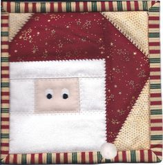 "free foundation (paper) piece Santa pattern -- 6"" block -- potholder or mug rug??"