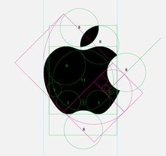 A diagram illustrating how the Apple logo owes it's perfect proportions through use of the golden ratio.