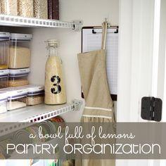 Pantry Organization via A Bowl Full of Lemons