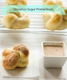Cinnamon Sugar Pretzel Knots - easy way to make soft pretzels at home #softpretzels #kidfriendly #dairyfree #eggfree