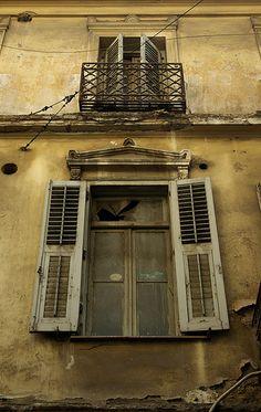 Golden / Brown house Brown House, Street Photo, Golden Brown, Windows And Doors, Deep Blue, Rust, Greece, Sweet Home, Home Appliances