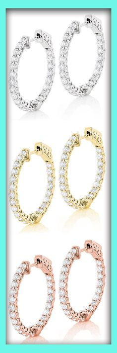 Elegant Diamond Hoops: These 14K Gold Inside Out Diamond Hoop Earrings for Women with a classic inside out design weigh approximately 6 grams and display 2 1/2 carats of sparkling round diamonds, each expertly prong set in lustrous 14K gold.