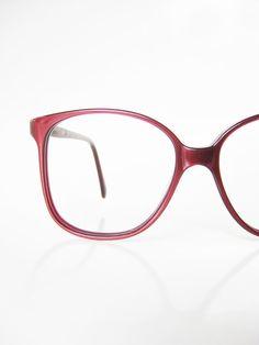 41ad919f72 1980s Oversized Wayfarer Eye Glasses Womens Eyeglasses Sunglasses Crimson  Rust Pearl Metallic 80s Huge Ladies Girls Nerd Chic USA