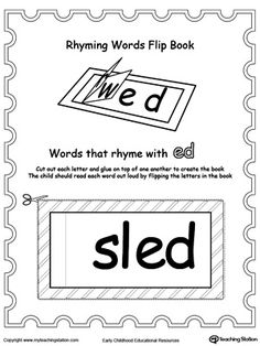 Printable Rhyming Words Flip Book ED: Use word families to teach your child how to read simple words. Once your child is familiar with the word family sound, they can easily replace the beginning letters sound to read the next word.