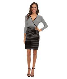 Calvin Klein Calvin Klein Three Quarter Sleeve Striped Wrap Dress EggshellBlack Womens Dress for 64.99 at Im in!