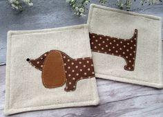 Sausage Dog Coaster - Spotty Dog - Fabric Coaster - Dachshund applique Gift £12.00