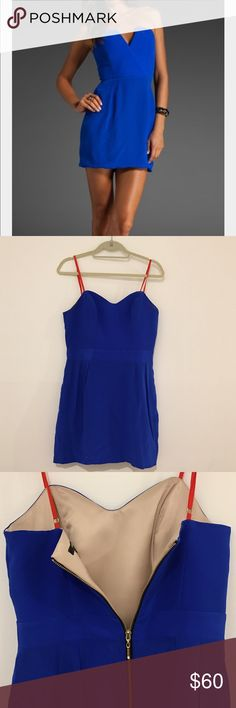 Royal Blue Mini Dress- Naven ♡Similar fit to first picture although not the same dress!  ♡Brand new, never worn ♡Royal blue, size 8, fits like a size small ♡Reason for sale: bought, removed tags, and never wore ♡Nude lining on the inside, straps not removable although may be cut off Naven Dresses Mini