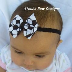 Soccer Ball Small Dainty Hair Bow Lace by stephsbowdesigns on Etsy, $4.49