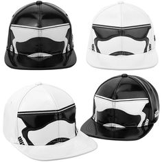 Mens Womens STAR WARS Stormtrooper Mask Black White Baseball Snapback Hats Caps #hellobincom #BaseballSnapbackCapHats